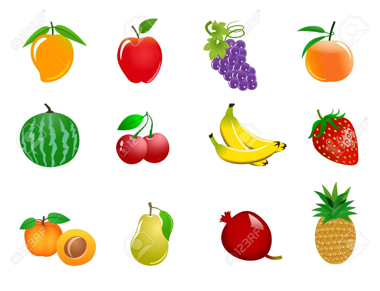 Different fruits clipart.