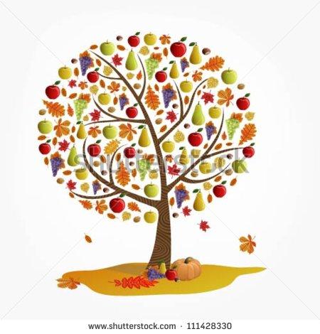Illustration Tree Autumn Fruits Stock Vector 111428330.