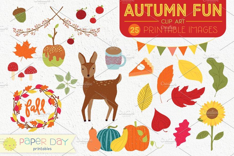 Autumn Fun Fall Clip Art.