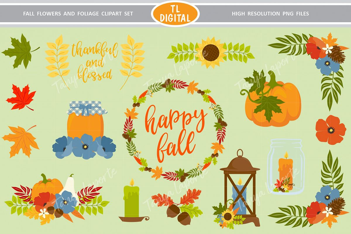 Fall Flowers and Foliage Clipart.