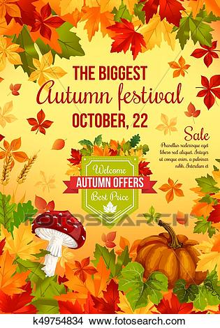 Autumn sale banner design of fall harvest holiday Clipart.