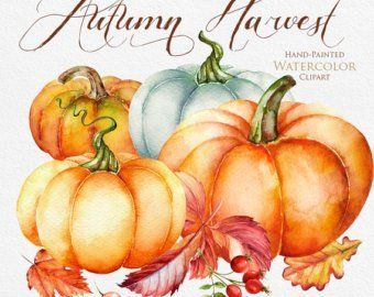 Halloween watercolor clipart, Autumn, Pumpkin, fall, holiday.