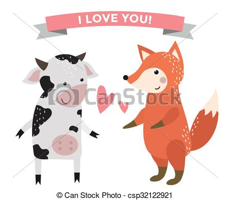 Vector Clipart of Cute cartoon animals couples fall in love banner.