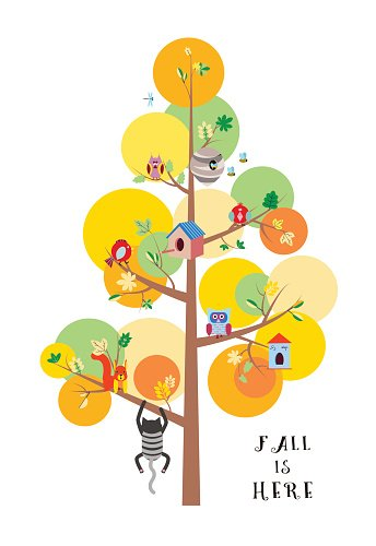 Fall is here autumn tree flat vector illustration Clipart.
