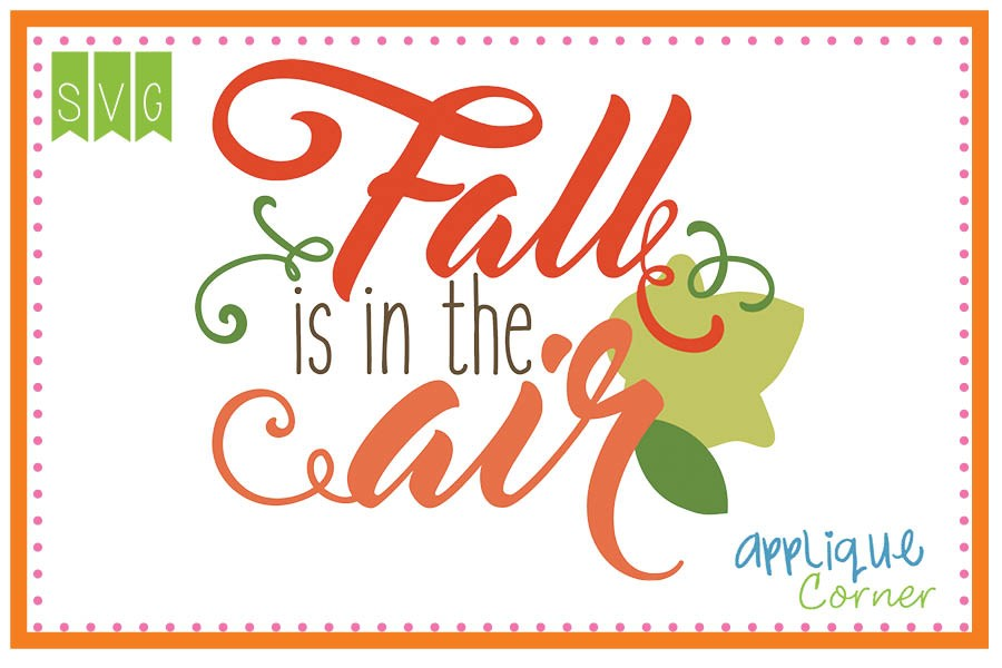 Applique Corner Fall is in the Air Cuttable SVG Clipart.