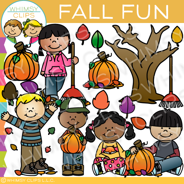 Fall kids clip art , Images & Illustrations.