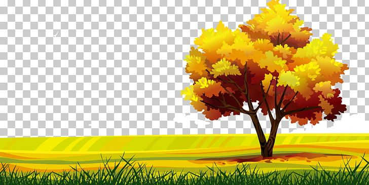 Cartoon Landscape Drawing PNG, Clipart, Autumn Leaves.