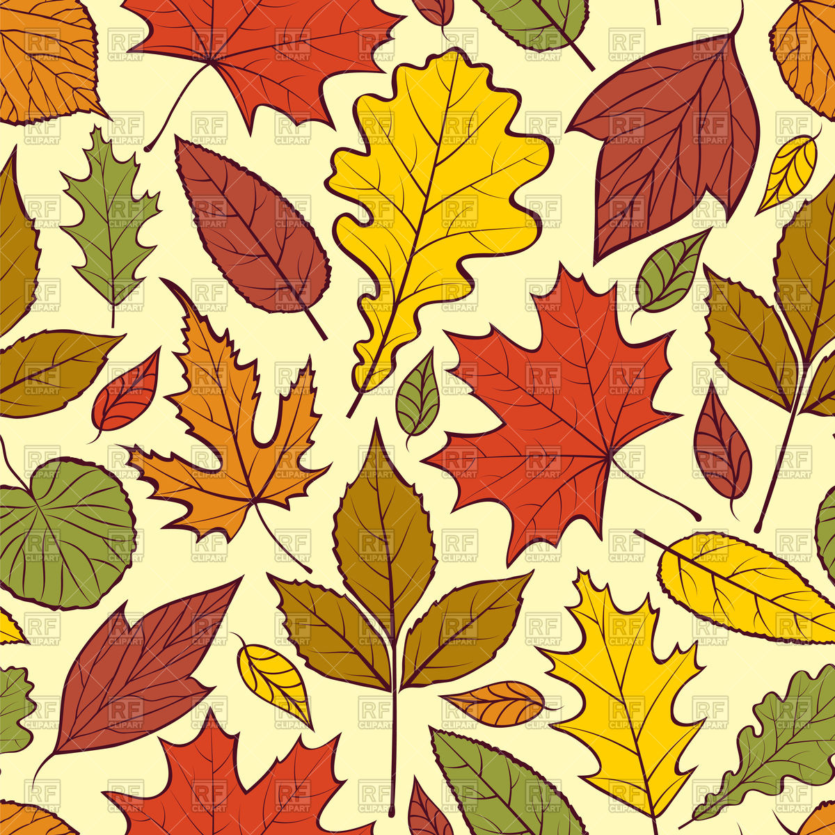 Seamless background with autumn leaves Stock Vector Image.