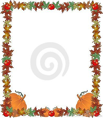 Fall leaves, apples and pumpkins , creating a great frame.