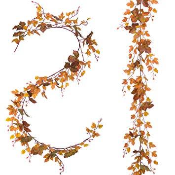 Lvydec 2 Pack Fall Maple Leaf Garland.