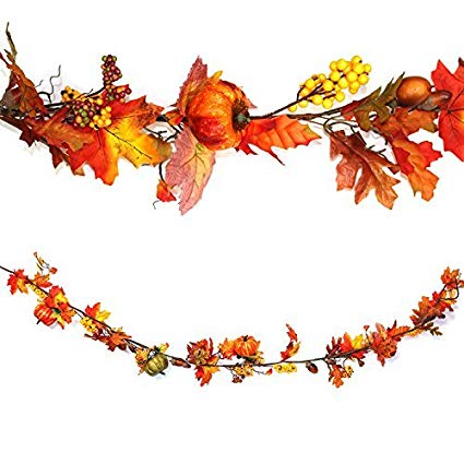 Autumn Pumpkin Hanging Garland: Thanksgiving/Halloween Decoration 160cm.
