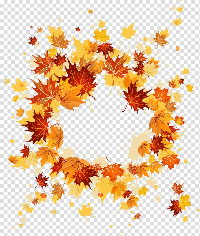 Beige and orange leaf wreath illustration, Autumn leaf color.