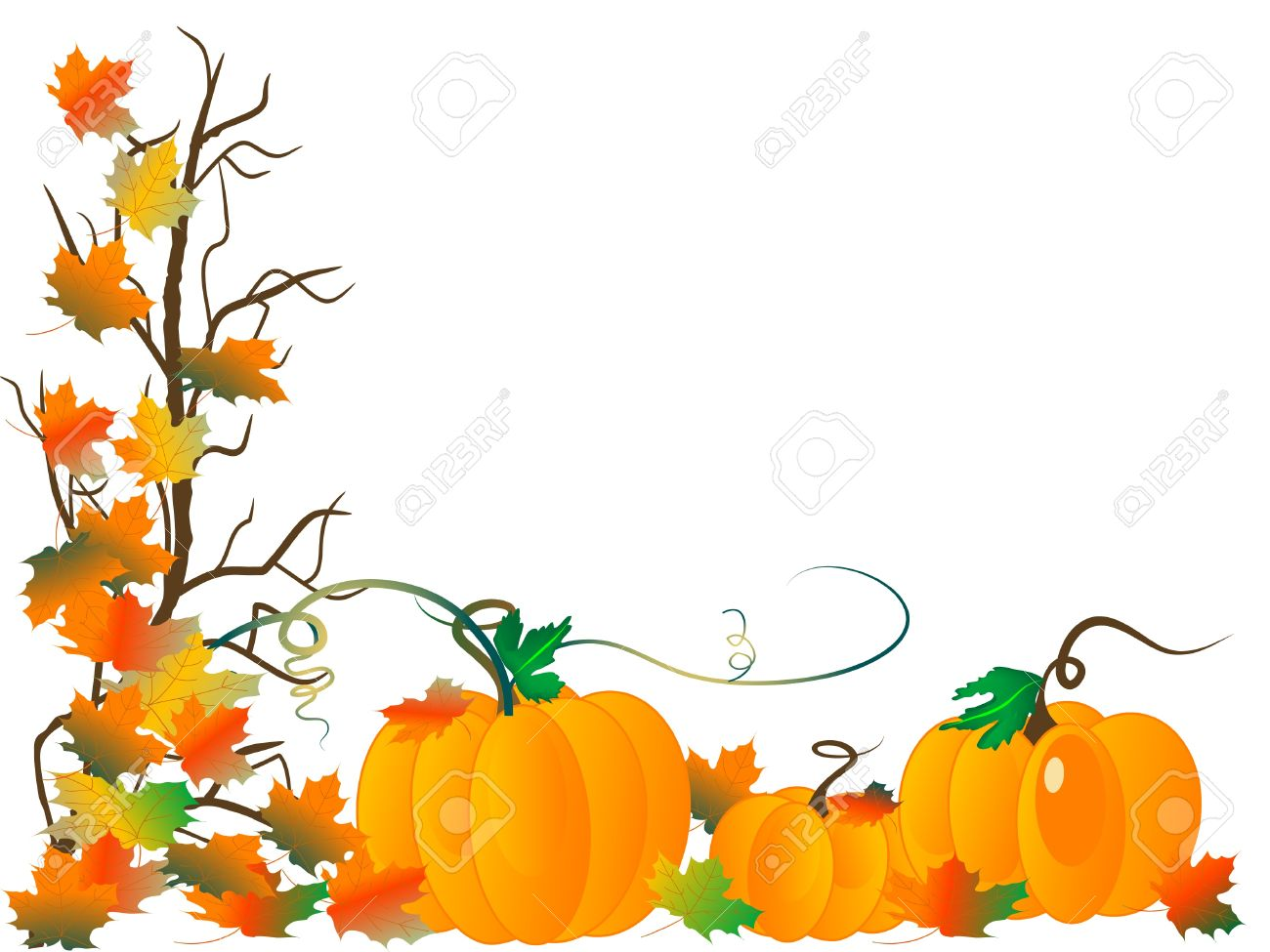 Abstract background with pumpkins and autumn leaves.