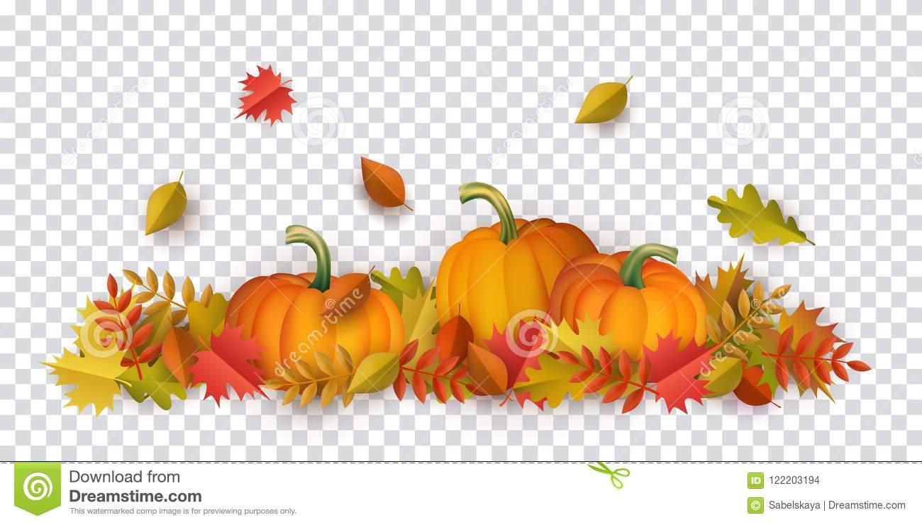 Vector Autumn Leaves, Pumpkin Pattern Stock Vector.