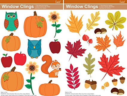 Amazon.com: Fall Window Clings, 2 Sheets featuring Pumpkins.