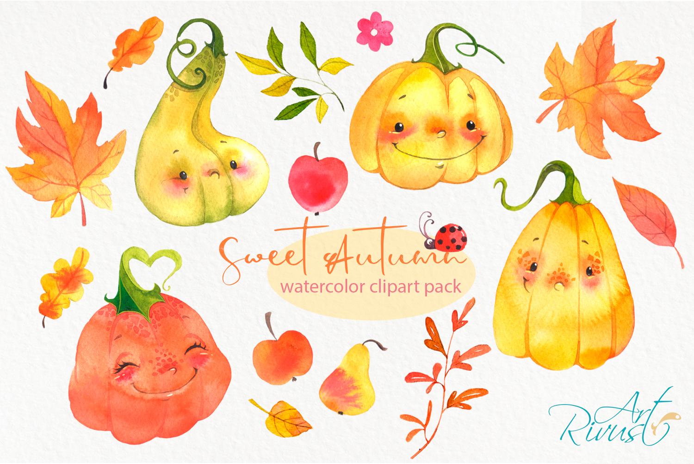 Cute watercolor pumpkins clipart. Fall leaves clip art..