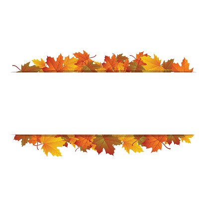 Autumn leaves around blank rectangle. Vector banner Clipart.