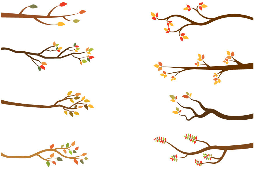 Fall branch, Autumn tree branches clipart, Bare branches By.