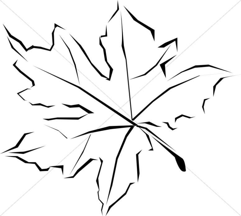 Line Art Fall Leaf.