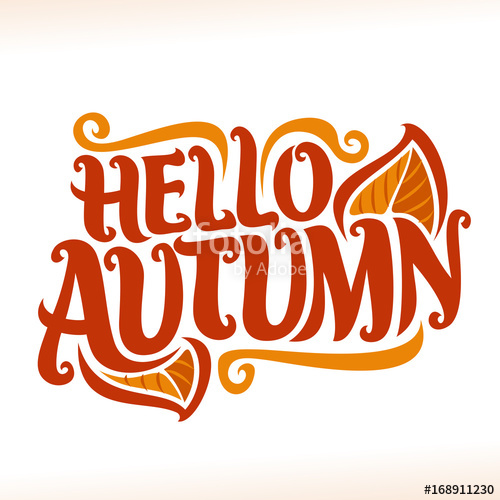 Vector poster for Autumn season: fall logo with maple leaf.