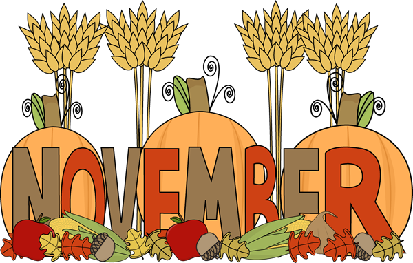 Fall months of the year clipart.
