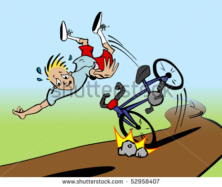 Clipart of people falling off bike.