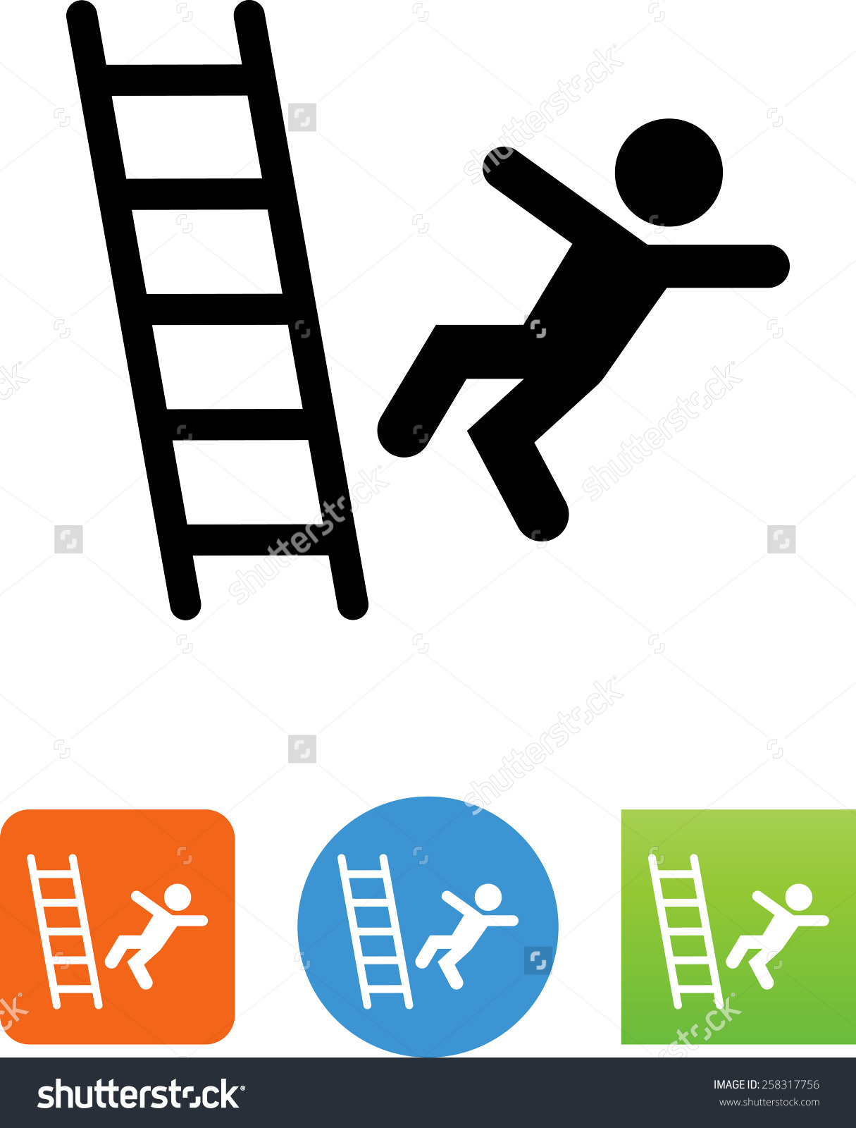 Person Falling Off Ladder Symbol Vector Stock Vector 258317756.