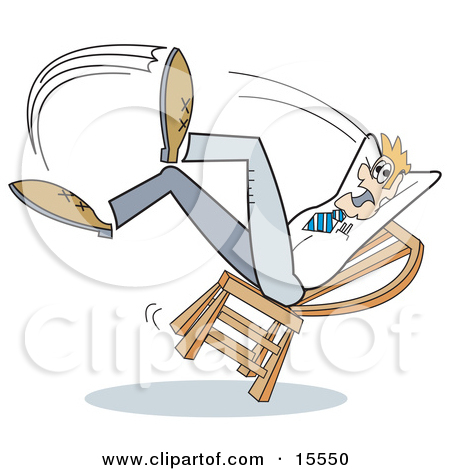 Woman falling off toilet clipart.
