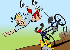 Falling off a bike clipart.