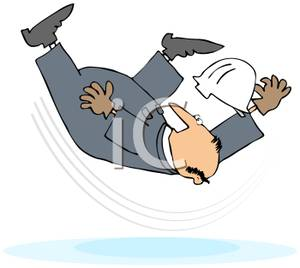 Colorful Cartoon of a Worker Falling Over Backwards.