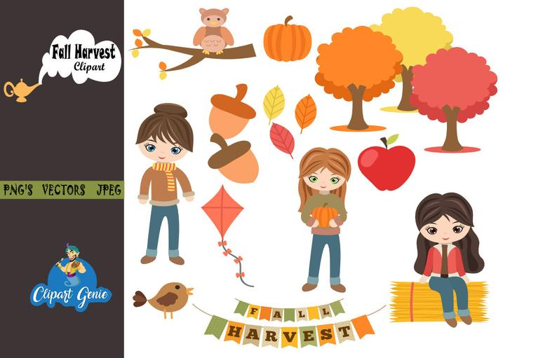 Fall harvest party, Fall Clipart, autumn harvest Clipart, Kite clipart,  flying kite clipart, apple Clipart, fall harvest banner, fall party.