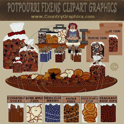 Prim Fixins Clipart Graphics and Labels.