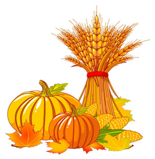 Pumpkins and Leaves Clip Art.