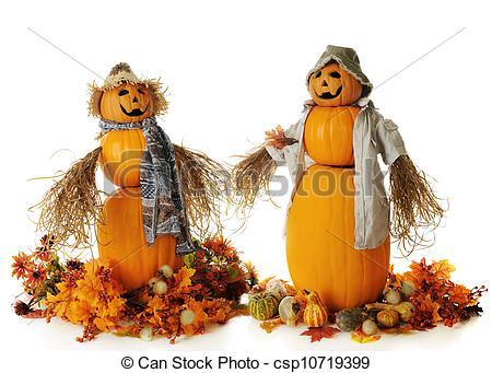 Stock Photographs of Happy Pumpkin Couple.