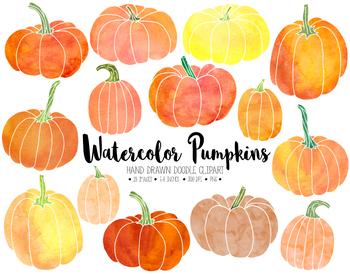 Watercolor Pumpkin Clipart. Hand Drawn Thanksgiving, Fall, Autumn Clip art..