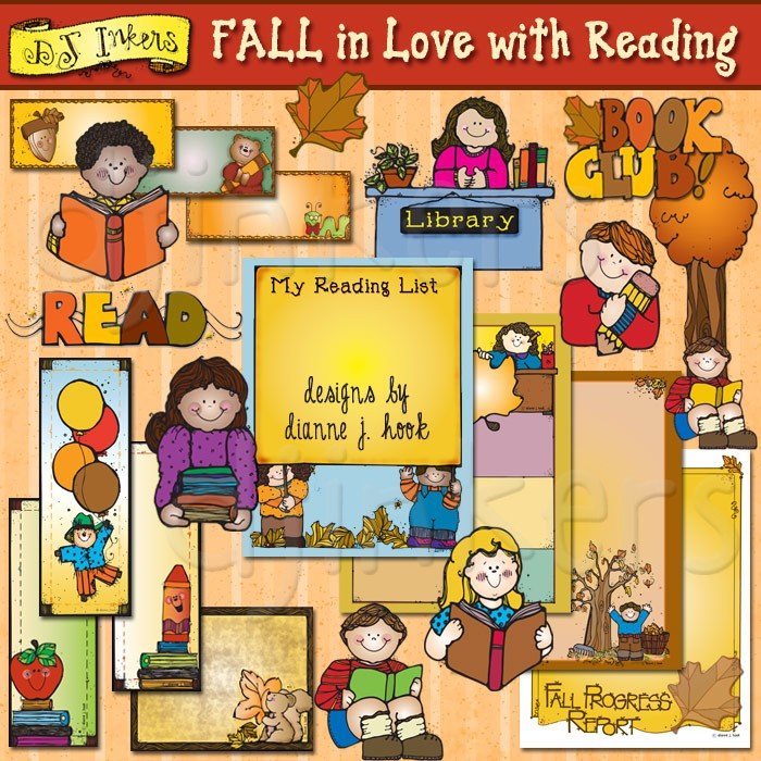 FALL in Love with Reading printables, borders and clip art by DJ.