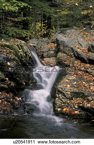 Stock Photography of waterfall, fall, river, Maine, White Mountain.