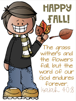Fall Poster FREEBIE Melonheadz Clipart and Bible verse.