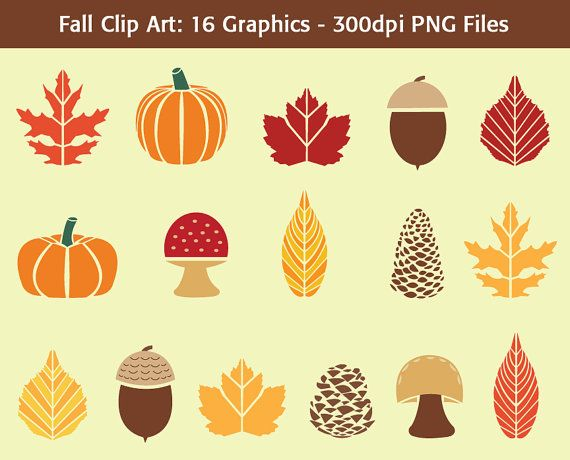 Fall Clip Art: Autumn Symbols by VizualStorm #fallclipart #autumn.
