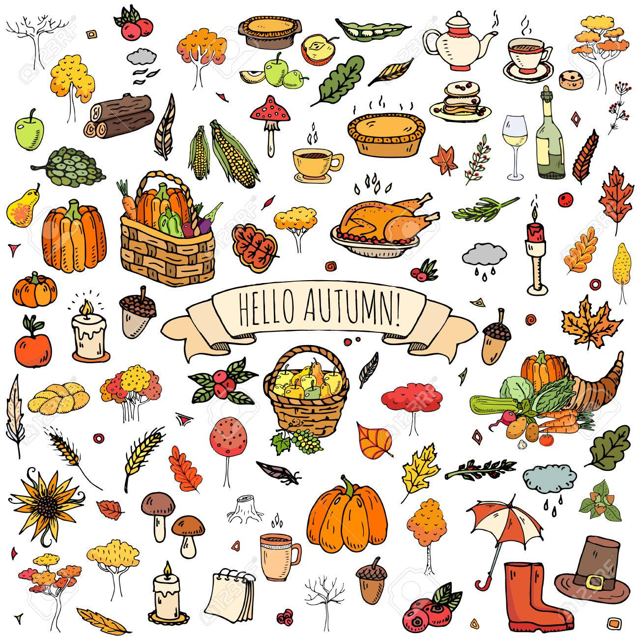 Hand drawn doodle Autumn icons set. Vector illustration. Fall...