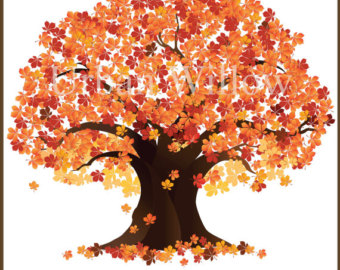 Fall oak tree clipart.
