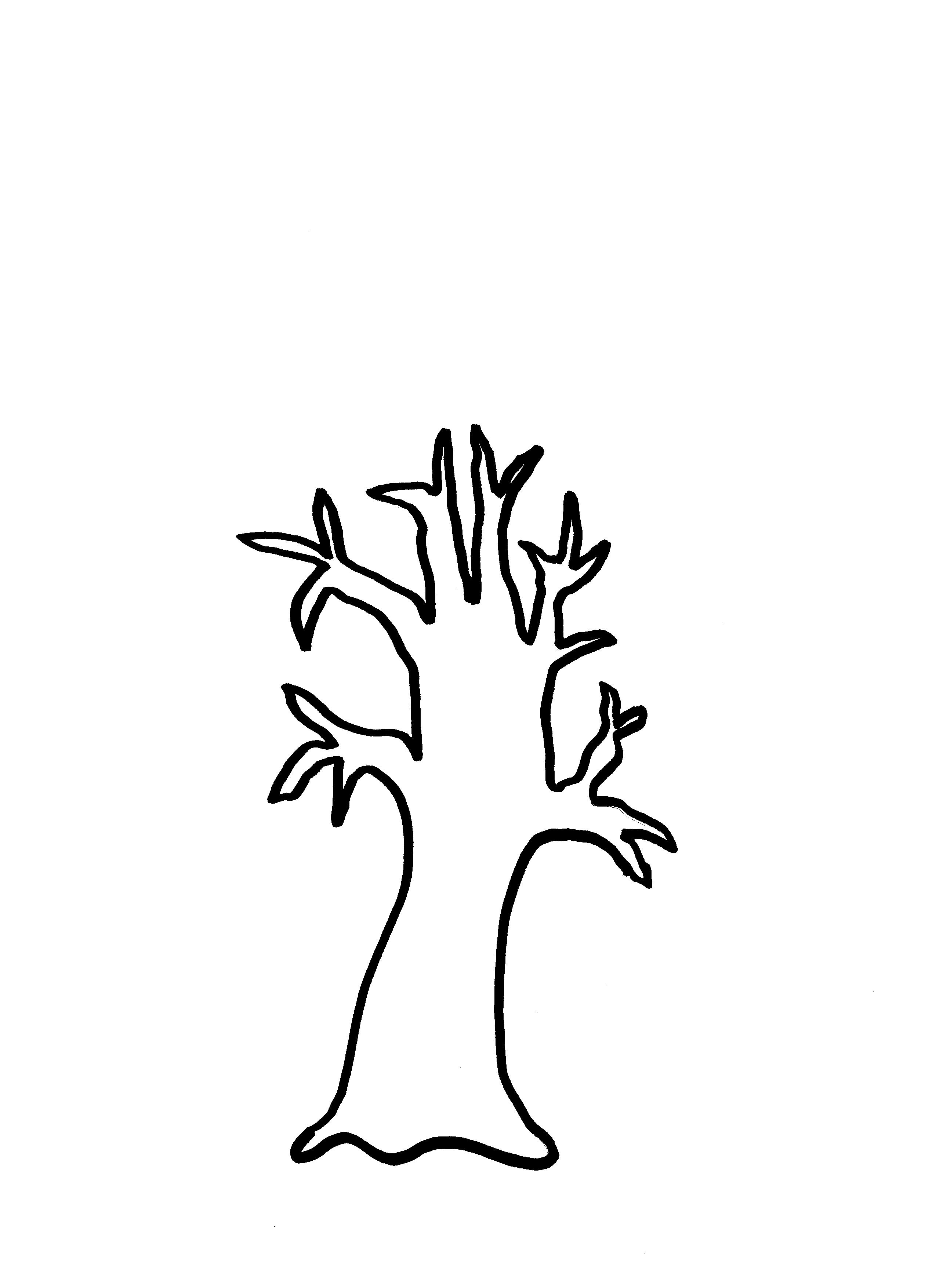 Fall Tree Clipart Black And White With 6 Branches.
