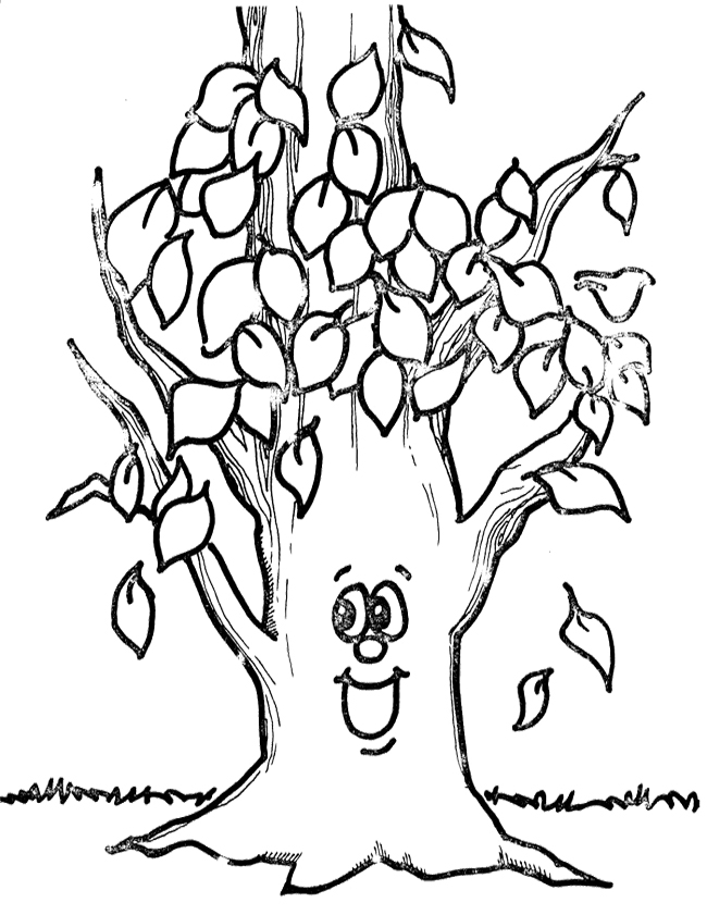 Leaves Falling Off Tree Clipart Black And White.
