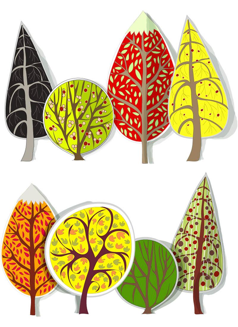 Retro Trees Clip Art, Autumn Trees Digital Clip Art, Fall Clip Art.