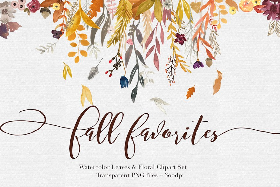Fall Watercolor Clipart.