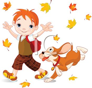 Cute Little Boy Playing in Fall Leaves with His Dog.