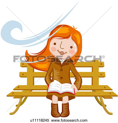 Clipart of womankind, reading, hobby, women u14046714.