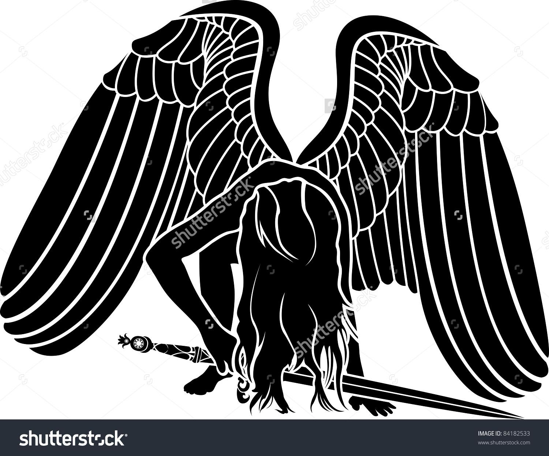 Fallen Angel Sword Revenge Symbol Stock Vector 84182533.