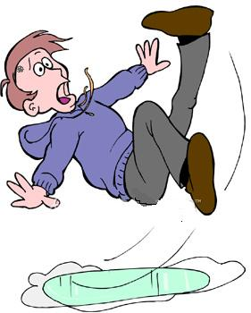 Clip art people falling on ice.