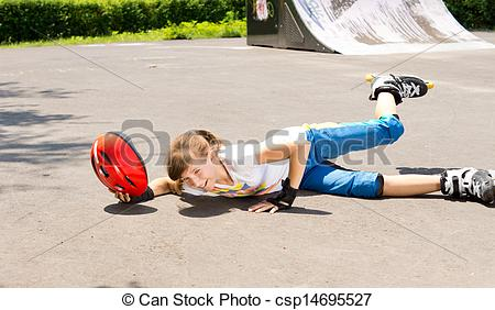 Fallen Girl While Skating Clipart.
